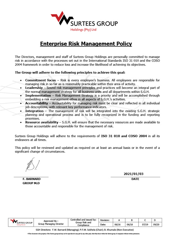 Enterprise Risk Management Policy